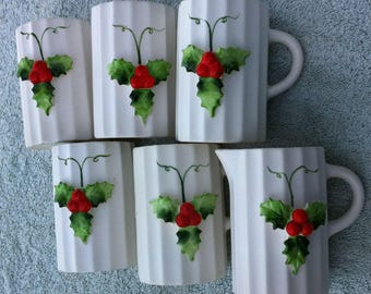 Holt-Hpward 1959 Christmas eggnog cups and pourer