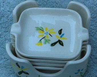 White stacked ceramic ashtray set