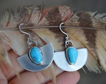 Half Moon Sleeping Beauty Earrings – Sterling Silver