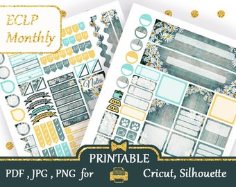 Floral Erin Condren horizontal  Kit Planner Stickers EC Life Planner Stickers ECLP Printable Instant Download Monthly Planner Silhouette
