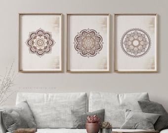 Mandala Wall Art Set of 3 Prints, Canvas or Paper Prints, Boho Home Decor, Printed Posters, Yoga Room Decor, Large Living Room Bedroom Decor