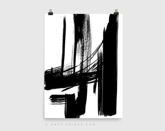 Minimalist Art Black Lines Print Black and White Abstract