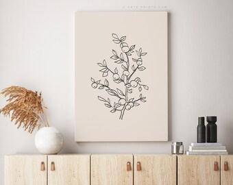 Botanical Wall Art Modern Minimalist Apple Tree Print, Beige and Black Line Drawing Apple Tree Branches, Minimalist Plant Art, Wall Prints