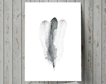 WATERCOLOR BLACK FEATHER Wall Art, Black and White Watercolor Print, Large Grey Feather Poster, Minimalist Art, Mens Gift, Feather Art Print