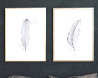 WATERCOLOR FEATHERS Wall Art Set of 2 PRINTS, Pale Blue Watercolor Painting, Boho Style Living Room Bedroom Wall Art Set Housewarming Decor