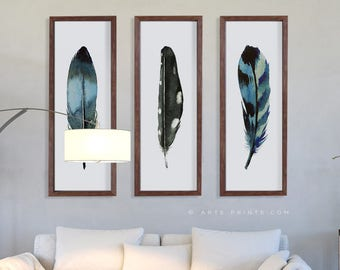narrow wall decor bedroom set of 3 narrow wall art feather prints living room large panel decor watercolor painting blue teal black panel wall art etsy