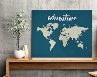 Adventure Canvas Art Etsy - World map for office wall