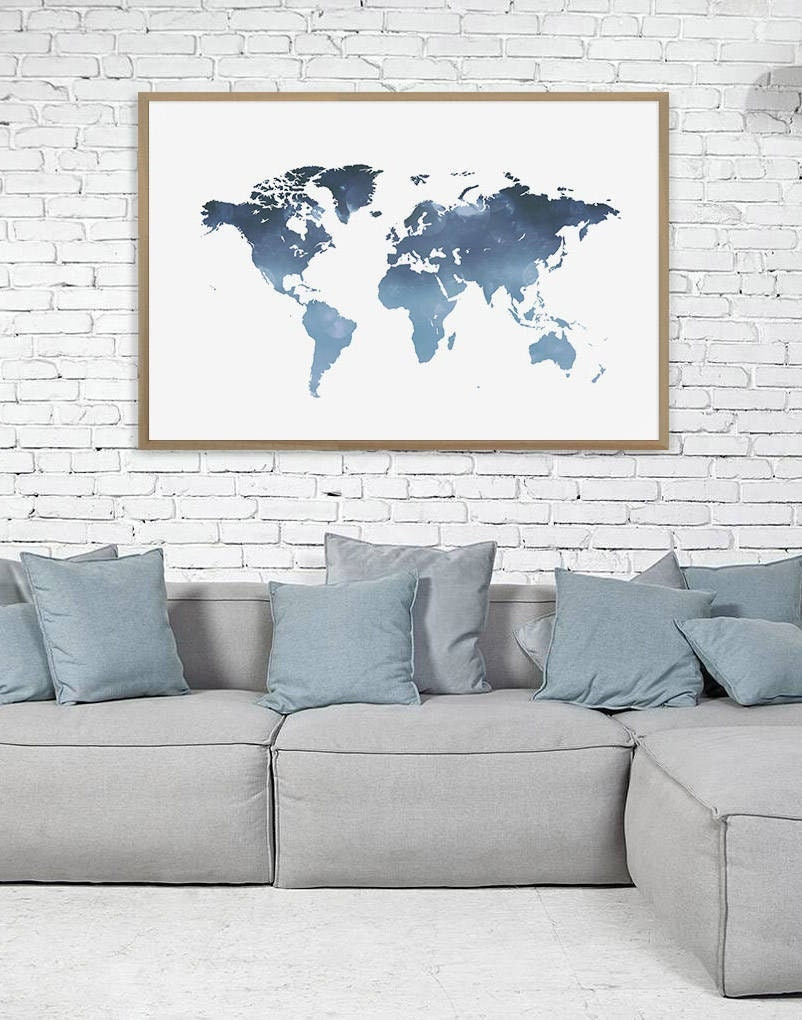 World Map Wall Art, Navy Blue World Map Print, Abstract Modern Map of the  World, Home Decor Wall Decor, Large World Map Poster, Giclee Print