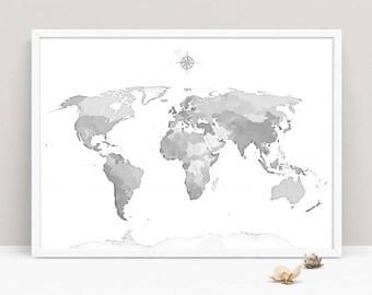 gray world map art print large world map map of the world modern