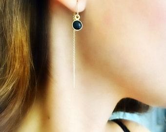 Black cz Earrings. Dainty Gold Earrings. Gold Threader Earrings. Minimalist Sterling Silver Earrings. Cz Earrings. Long Earrings. Gift