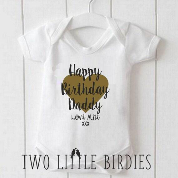 Metallische Happy Birthday Daddy Personalisiert Namen Baby
