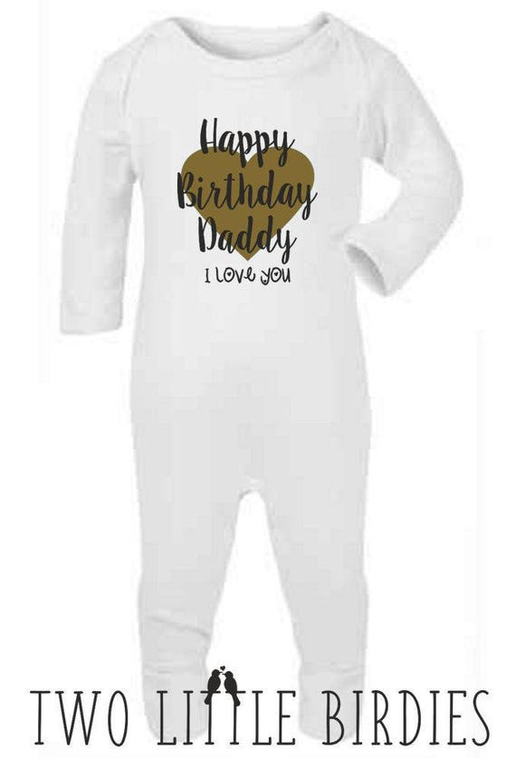 Happy birthday daddy I love you metallic Baby toddler t-shirt top gift idea