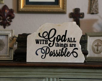 With God All Things Are Possible- Granite Stone