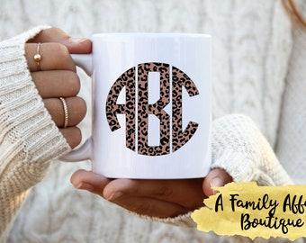Leopard Print Monogram Mug, Personalized Mug,  Circle Font, 15 oz. Ceramic Mug, Coffee Mug with/Saying, Coffee Lover