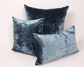 Luxuriously crafted Crushed blue velvet throw pillow cover. Pair with our  other velvet throw pillow covers for a more sophisticated look. 4351a4295c3d