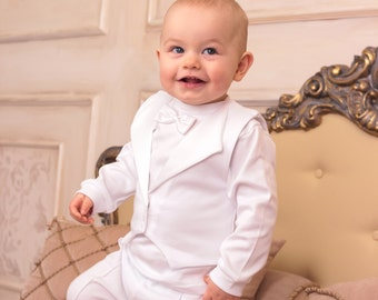 90e311e78 baby boy baptism outfit christening cotton suit 3-piece set, boy  christening outfit white, personalized baptism gift, toddler suit, handmade