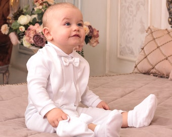 cc1bb09be1bf baby boy christening outfit, white suit, toddler baby boy white romper,  cotton suit, baby boy baptism set, organic clothes, outfits for boy