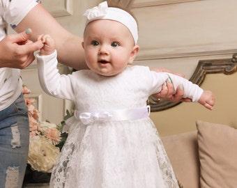 baptism dress for baby girl, christening dress, baptism gown, baby white lace dress, newborn girl baptism dress, baby wedding dress