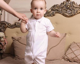 cebd3b77b baby boy romper, boy baptism outfit, christening outfit, christening  romper, white romper, newborn romper, summer outfit, cotton, handmade