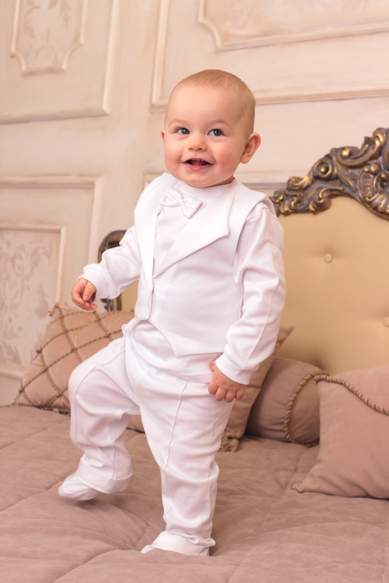 0eb5c717827a Baby boy baptism outfit christening cotton suit 3-piece set