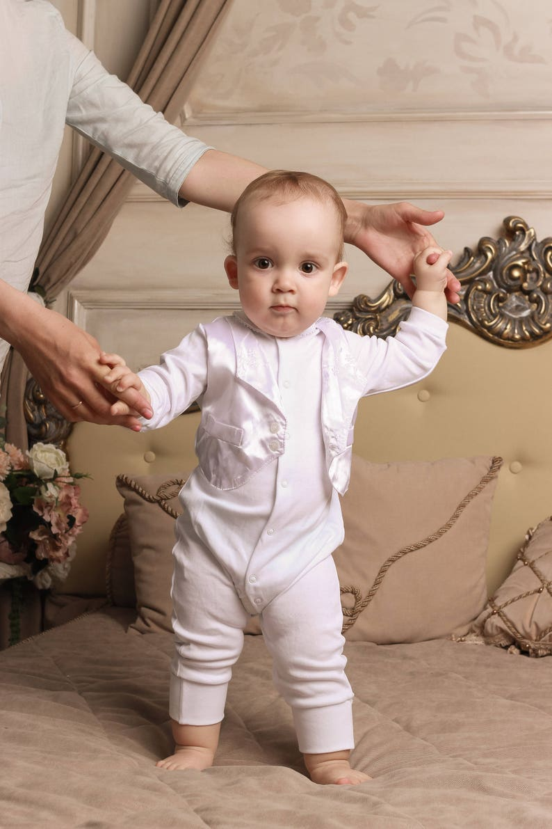 91dc87d98752 Boy baptism outfit christening set white baptism outfit