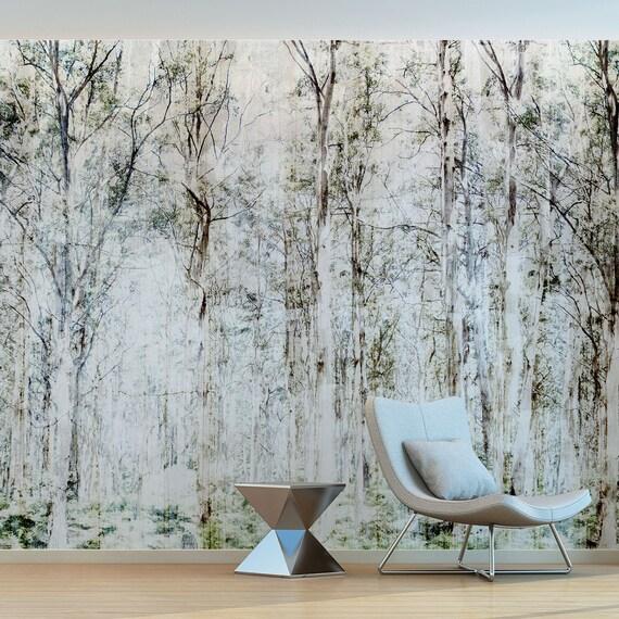 Die bewaldeten Wald hoch Bäume. Schöne Wand Wandbild, natürliche Innenräume  für Home und Business. Schöne weiche Töne. #Aribau