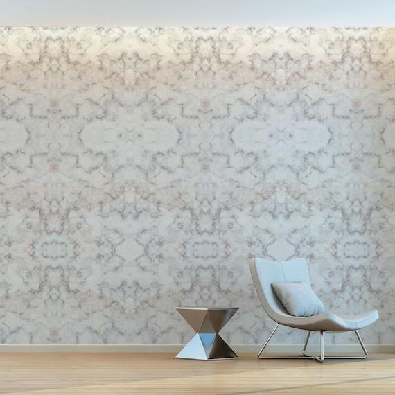 Effet Marbre Elegant Gris Pale Et Blanc A Motifs Murale Etsy