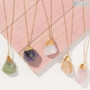 IST108 Raw Stone Necklace Gemstone Necklace Crystal Necklace Chalcedony Necklace Raw Chalcedony Necklace Dainty Necklace