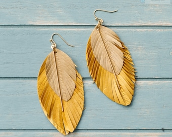 Eel skin earrings, Leather earrings, Statement earrings, Leather with bar earrings, Lightweight earring, Leaf and feather earrings Geometric