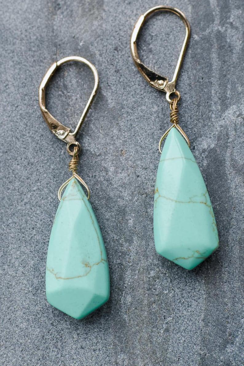 Gemstone Stone Earrings Minimalist earrings Unique gifts Geometric earrings Statement earrings Turquoise earrings Rose quartz earrings