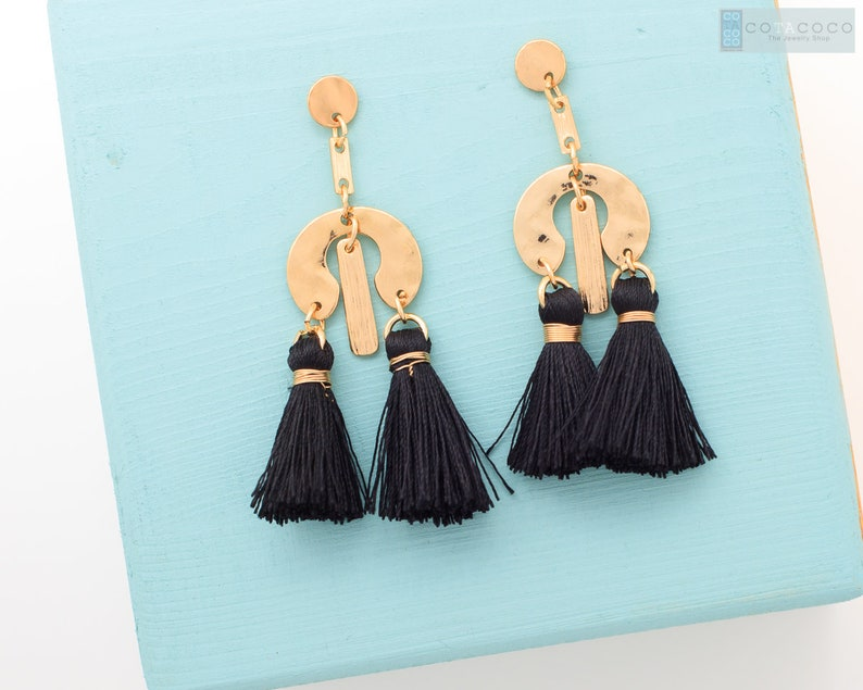 b83a249947f99 Black tassel earrings, Geometric dangle earrings, Fringe earrings, Holiday  earrings, Multi tassel earrings, Statement earrings, Mobile stud