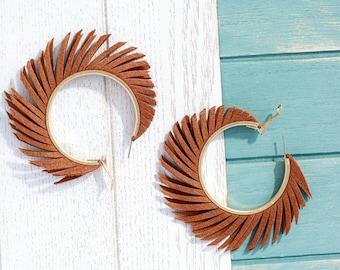 Suede hoop earrings, Statement earrings, Feather tassel earrings, Xl large fringe earrings, Lightweight earrings, Leather earrings