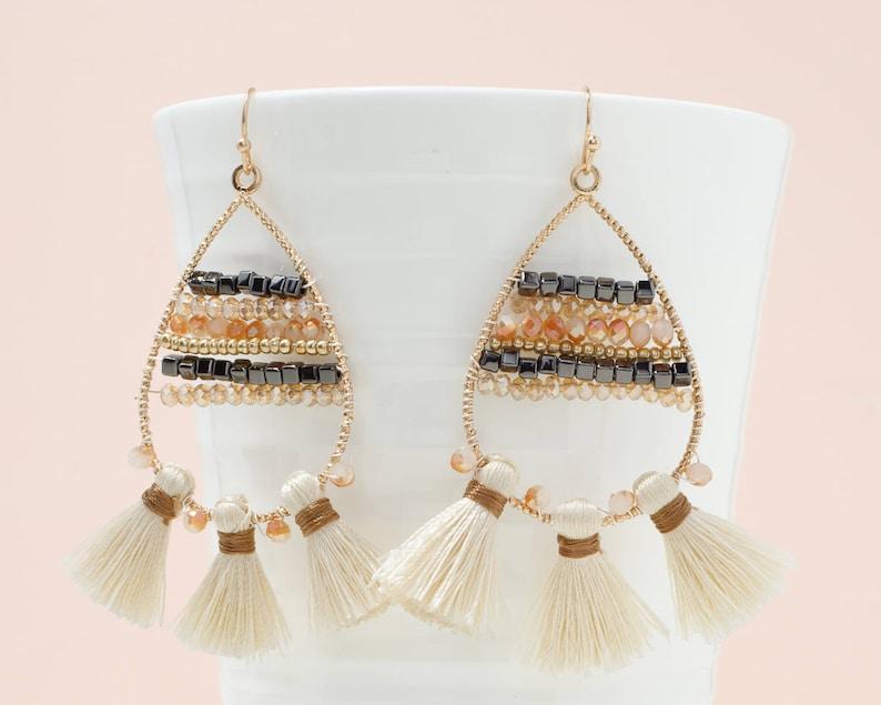 4730810e43d1b Ivory tassel earrings, Teardrop dangle earrings, Fringe earrings, Geometric  earrings, Multi tassel earrings, Beaded statement earrings