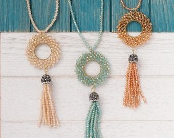 Beaded tassel necklace, Geometric pendant necklace, Statement necklace, Long necklace, Faceted Crystal Beads necklace, hoop pendant necklace