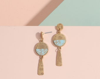 Turquoise earrings, Geometric earrings, Statement earrings, Dainty stud earrings, Birthday gift, Bridesmaid gifts, Unique gifts, Minimalist