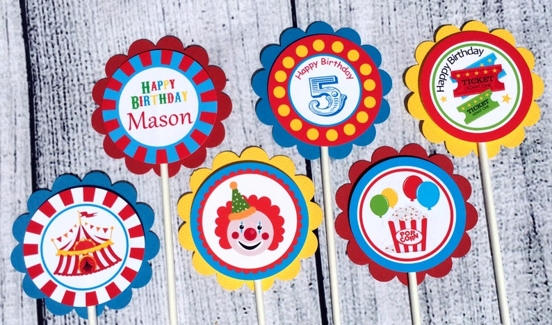 Carnival Party Supplies set of 12 Carnival Personalized Cupcake Toppers - Carnival Party Decorations Custom Cupcake Toppers