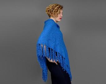 Vintage 70s Poncho Shawl with Fringe • 1970s Sweater Shawl • Bohemian Shawl • Sweater Poncho • Knit Shawl • Fringe Poncho • Sky Blue Shawl