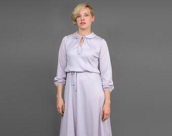 Vintage 70s Dress • Peasant Dress • Pale Purple Dress • Peter Pan Collar Pleated Dress • Puff Sleeve Dress • 1970s Dress • Boho Dress