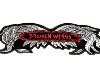 "G33 BROKEN WINGS 5/"" x 1.75/"" iron on patch Biker Vest Patch 2951"
