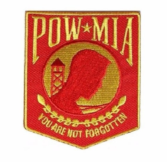 "Patriotic Novelty Patches POW MIA Premium Quality Sew On Iron On Patch 3.5/"""