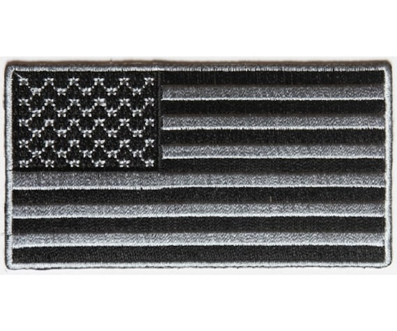 """5644//43 5/"""" x 3/"""" Black and Gray AMERICAN FLAG iron on patch Choice of Style"""