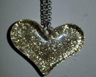 Gold Glitter Heart Pendant