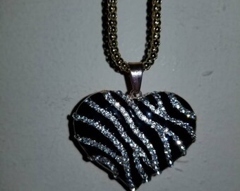 Zebra Print Pendant Necklace