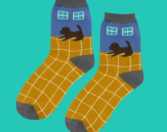 671800baafe Puppy dog waiting at Home Women s Socks in blue and yellow one size lady funny  socks