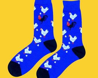 05446cea3 Hen   Chicken unisex men and women socks up to US Men Size 10.5