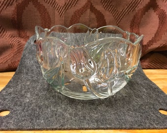 Mikasa Crystal Satin Tulips Frosted Glass Platter Bowl 12