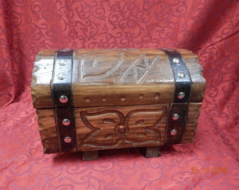 Small Wooden Trunk with Beautiful Butterfly Detail