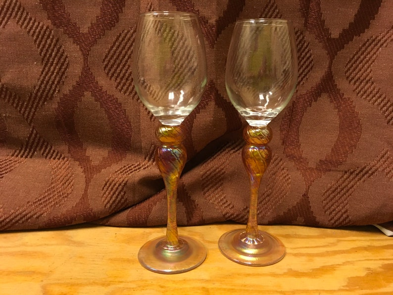 2 Clear Glass Wine Glasses with Tall Carnival Stems.