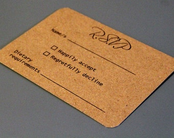 RSVP Kraft Cards & Envelopes. A7. Packs of 10. Can be personalised.