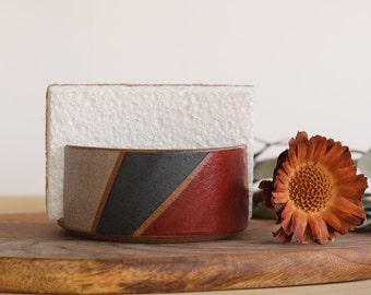 Handmade Ceramic Sponge Holder, Geometric Design, Wheel Thrown, Hand Painted, Sponge Dish, Kitchen Organization, Unique Gift